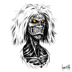 Eddy from Iron Maiden - Killers, by James Bousema, digital sketch by James Bousema Evil Skull Tattoo, Eddie The Head, Fantastic Wallpapers, Cool Art, Awesome Art, Arte Horror, Metal Artwork, Iron Maiden, Goblin