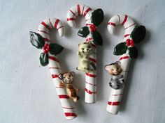 Vintage+Japan+Candy+Cane+Christmas+Ornaments+Ceramic+by+berryetsy