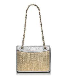 Tory Burch Fleming Metallic Medium Double Flap Bag