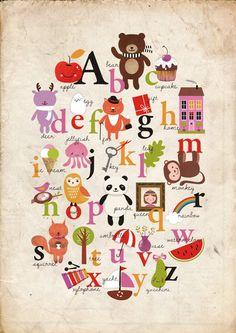 vintage alphabet print - mariasea.etsy.com