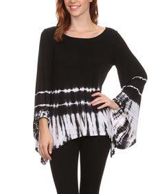 Love this Urban X Black & White Tie-Dye Sidetail Top by Urban X on #zulily! #zulilyfinds