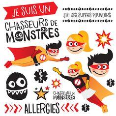 Tatouages temporaires pour enfants ayant des allergies alimentaires. Super Pouvoirs, Allergies Alimentaires, Monster Hunter, Hunters, Tattoos, Event Posters, Children, Noel