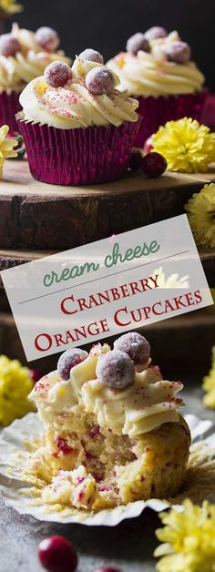 Fresh Cranberry Orange Cupcakes with Cream Cheese Frosting and just right to serve your guests after Thanksgiving Dinner with a nice cup of tea.