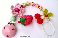 Schnullerkette mit Erdbeere Blume Kirsche gehäkelt