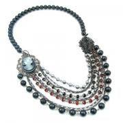 Madame Delphine's™ Black Cameo Pendant and Multi-Strand Bead Necklace