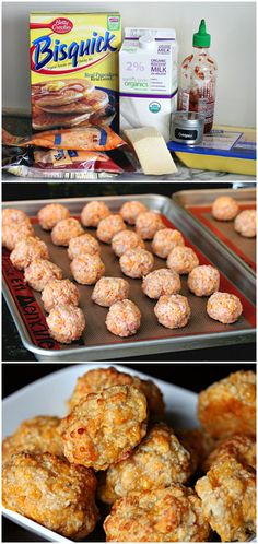 Spicy Sriracha ground Chicken Cheeseballs-3 cups bisquick, 1 lb ground chicken, 2 tbsp sriracha sauce, 4 cups grated sharp cheese,  1/2 cup grated parm cheese, 1/2 cup milk & 1/2 tsp oregano