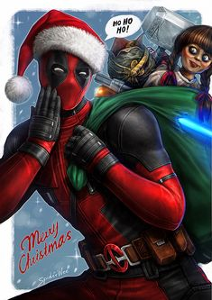Deadpool Merry Christmas by SpiderWee Deadpool Fan Art, Deadpool And Spiderman, Deadpool Love, Deadpool Pictures, Deadpool Pikachu, Deadpool Funny, Marvel Funny, Funny Avengers, Dead Pool