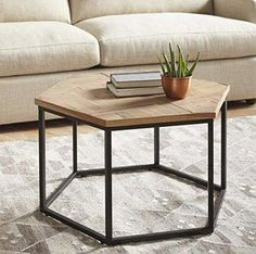 This industrial-chic hexagonal coffee table that you can use as a centrepiece or a corner table – 17 Home Decor Items That Will Make You Never Wanna Leave Your House Loft Furniture, Metal Furniture, Furniture Projects, Furniture Makeover, Modern Furniture, Furniture Design, Interior Modern, Geometric Furniture, Smart Furniture