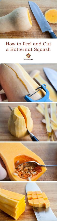 Butternut squash can be so hard to work with! Here's how to safely peel and cut them. On SimplyRecipes.com #cooking #howto #fall