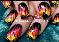 No Water Needed - HOT DIY Neon Marble Flames nail art Tutorial  Nail Art Tutorial