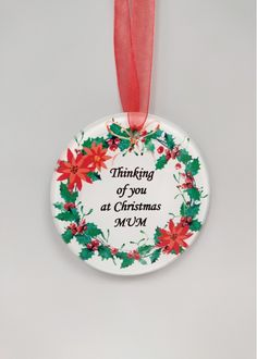 Mum Memorial Christmas Tree Decoration Round glass decoration complete with hanging ribbon. 9 cm Thinking of you at Christmas Mum Glass Christmas Tree Ornaments, Christmas Tree Decorations, Christmas Wreaths, Holiday Decor, Organza Ribbon, Red Ribbon, Floral Supplies, Round Glass, Hanger
