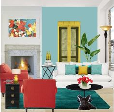 Pinterest Teal Yellow And Red Living Room | Red, Blue, Yellow Living Room By