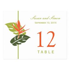 Tropical Floral Table Number Card | Green & Orange