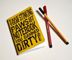 "Handmade notebook ""Damned dirty ape"" Yellow journal $7.50"