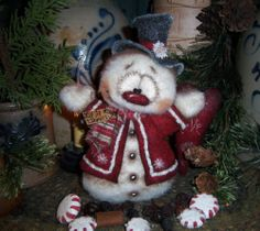 "Primitive Frosty Winter 8"" Snowman Doll ★ Vtg Patti's Ratties Valentine Bear"