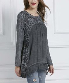 Look what I found on #zulily! Gray Floral Lace-Hem Long-Sleeve Tunic #zulilyfinds