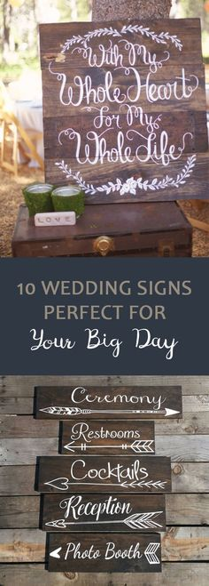 10 Wedding Signs Perfect for Your Big Day - Wedding DIY - Wedding Home Wedding, Wedding Tips, Rustic Wedding, Wedding Planning, Wedding Day, Wedding Hacks, Wedding Backyard, Trendy Wedding, Diy Wedding Signs