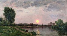 DELPY, Hippolyte Camille (1842-1910), Sonnenuntergang mit Wäscherin am Flussufer, Öl auf Holz,