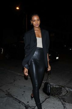 Jasmine Tookes rocking pointy black leather pumps with high heel Black Leather Pants, Leather Pumps, Cocktail Club, Jasmine Tookes, Autumn Street Style, Dark Beauty, Party Looks, Black Button, Club Dresses