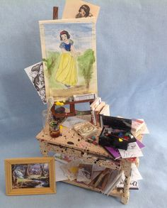 Dolls House Miniatures - Artist's Table (disneys Snow white themed) on Etsy, $130.00