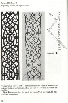Instructions and lace from 'le Pompe 1559, Pattern for Venetian Bobbin Lace'