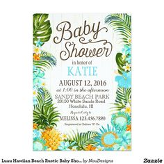 Luau Hawiian Beach Rustic Baby Shower