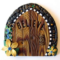 Woodland Believe Fairy Door by Claybykim on Etsy