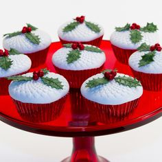holly and berries cupcakes using whimsy blooms cupcake and cookie texture tops - Christmas Cupcake Decorations
