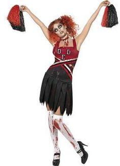 Halloween Zombie Cheerleader And Bloody Stockings - Adult Costume