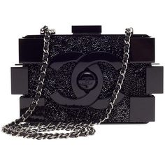 Pre-Owned Chanel Lego Clutch Crystal Embellished Plexiglass (24,025 PEN) ❤ liked on Polyvore featuring bags, handbags, clutches, black, multi colored leather handbags, chanel pochette, leather handbags, colorful clutches and chanel
