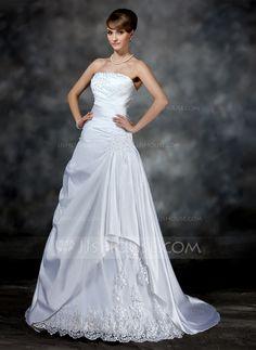 A-linjeformat Axelbandslös Court släp Satäng Bröllopsklänning med Rufsar Pärlbrodering Applikationer Spetsar (002017181)