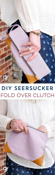 DIY Seersucker and Leather Fold Over Summer Clutch Sewing Pattern & Free Tutorial on http://polkadotchair.com