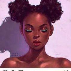 — Portrait by Angel Ganev 'Teal Eyeliner' Black Women Art! — Portrait by Angel Ganev 'Teal Eyeliner' Art Black Love, Black Girl Art, Black Girls Drawing, Drawing Women, Woman Drawing, Black Eyeliner, Black Girl Cartoon, L'art Du Portrait, Natural Hair Art