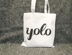 YOLO white grocery bag  Drake the motto printed by invisiblecrown, €10.50