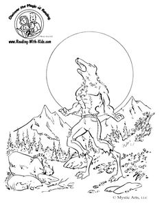 Halloween Wolfman Werewolf coloring page