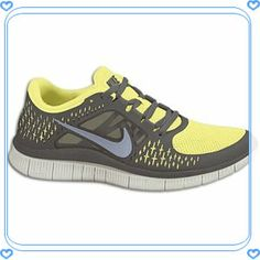 Nike Free Run + 3 - Women's - Electric Yellow/Midnight Fog/Gamma Grey Cheap Sneakers, Running Sneakers, Nike Running, Sneakers Nike, Running Shoes, Nike Free Run 3, Nike Free Shoes, Nike Shoes, Free Runs