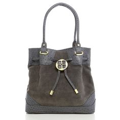 IMAN Ostrich-Embossed Leatherand Suede Bag