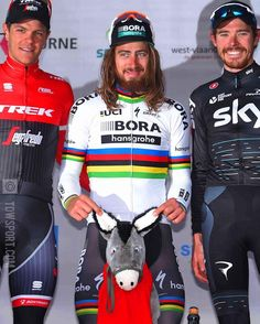 Kuurne Brussel Kuurne 2017 winner Peter Sagan with the event's traditional donkey prize @tdwsport