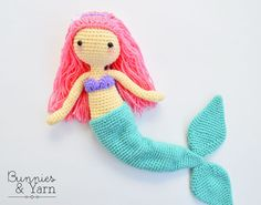 CROCHET PATTERN - Mindy the Mermaid Doll - Amigurumi Doll - 12 in. tall - Crochet Toy - Instant PDF Download