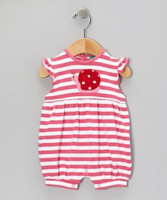 Take a look at this Pink Snail Stripe Bubble Romper - Infant by Sweet Teas Children's Boutique on #zulily today!