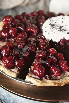 Chocolate Mascarpone Raspberry Pie -- what a lovely dessert (filling would also be great in a tart)