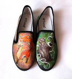 Personalized handpainted shoes Wild Nature bear and by MadCandies