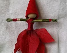 Christmas Fairy Elf - Red Poinsettia Art Doll, big, bold striped stockings