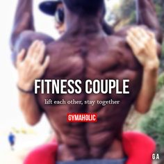 Fitness Couple lift each other stay together