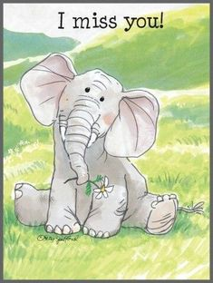 I miss you! by hootowlholler Baby Animals, Cute Animals, Zoo Art, Card Sentiments, E Cards, Baby Elephant, I Miss You, Suzy, Cute Quotes