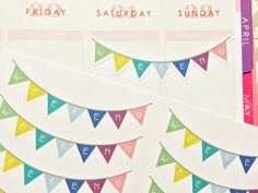 10 Weekend Banner Stickers that look great in the weekly boxes of the Erin Condren life planner