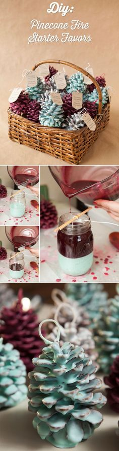 diy pinecones wedding favors for winter wedding ideas