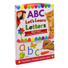 ABC Let's Learn Letters Wipe Clean Early Learning 4 Books Set and Pen
