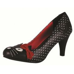 TUK A8173 Kitty Polka Dot Heels Black