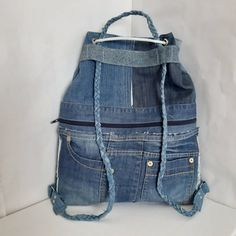 Hipster denim backpack for college image 5